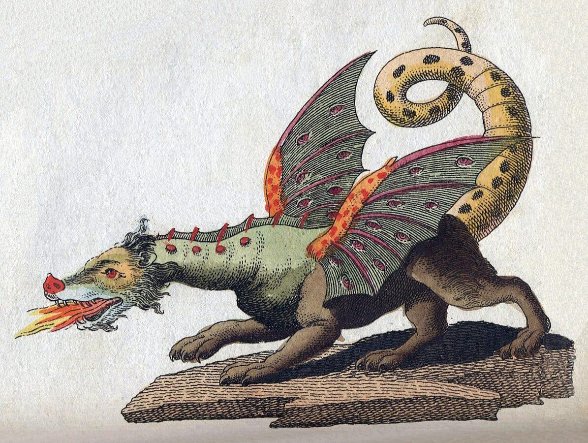 Œuvre de 1806 traitant de dragons, plus spécifiquement européens