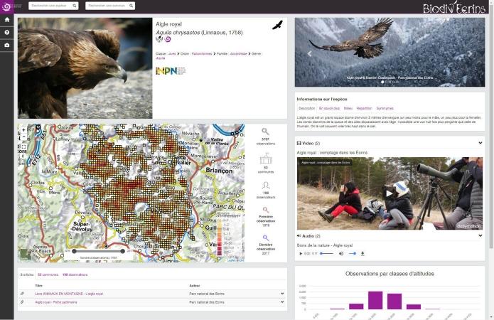 Aperçu de l'application Biodiv'Ecrins