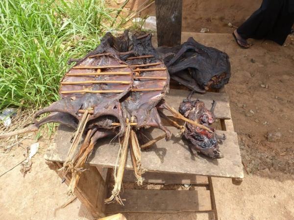 Au bord de la route, la viande de brousse se trouve aisément