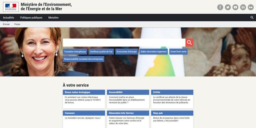 Capture d'écran du site du Ministère de l'Environnement de l'Energie et de la Mer