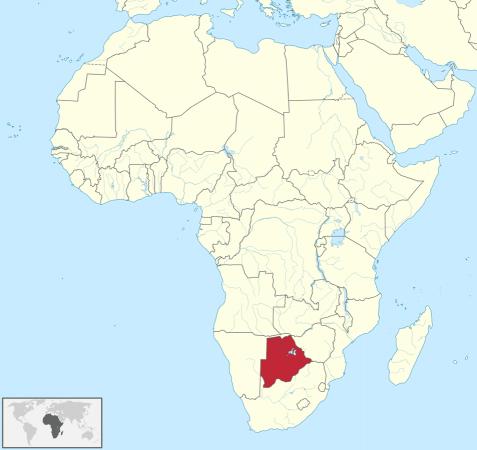 Carte de l'Afrique, le Botswana est en rouge