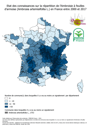 Carte de répartition de l'Ambroisie à feuilles d'armoise en France métropolitaine