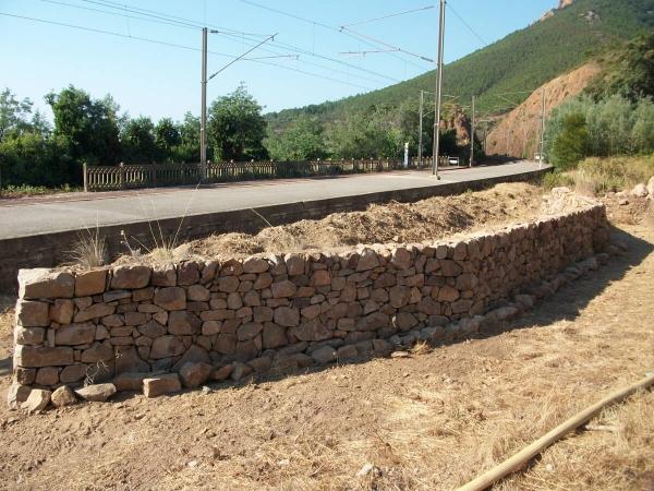 Chantier pierre sèche SNCF pour Hemidactylus turcicus