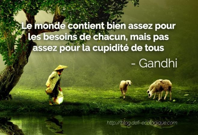 citation à propos de l'écologie de Gandhi