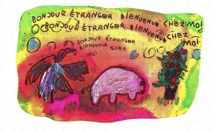L'acceptation de l'altérité transposée au monde animal, (Composition de dessins d'enfants de la classe maternelle L. Pergaud de Mulhouse, 1996)