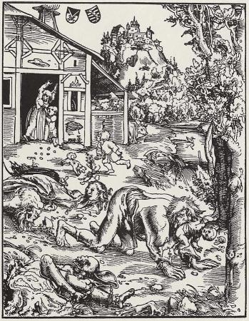 Gravure sur bois Werewolf traitant de lycanthrope - 1512