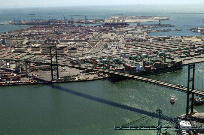 Port de Los Angeles et pont Vincent Thomas