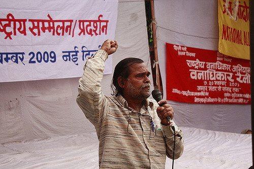 Prafulla Samantara s'adresse au dharna