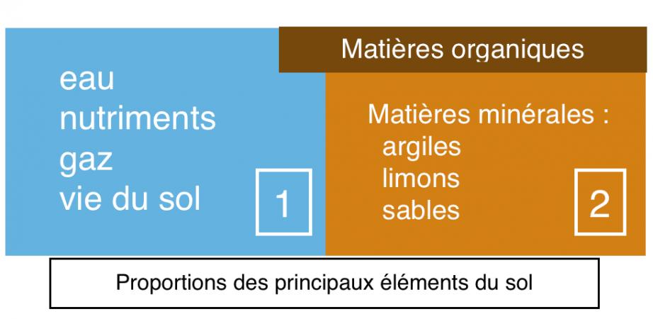 Proportion des éléments principaux d'un sol