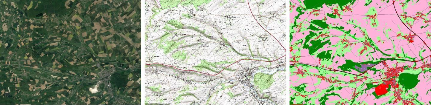 Secteur des coteaux calcicoles d'Acquin, de Seninghem et de Journy en photo aérienne   (gauche), en images cartographiques numériques géoréférencées SCAN25 (centre) et sa digitalisation avec un logiciel SIG (droite). Le travail de digitalisation consiste à représenter par des polygones et sur ordinateur les différents habitats du territoire et d'attribuer un code spécifique à chaque milieu. Dans l'exemple ci-dessus, les forêts sont représentées en vert foncé, les prairies en vert clair, les zones agricoles en rose, les zones urbaines en rouge et le réseau routier en noir. La digitalisation du paysage est réalisée à partir de photographie aérienne et de prospection directement sur le terrain. SimOïko est un modèle spatialement explicite, car il permet de faire vivre les espèces sur des paysages numérisés et géoréférencés.