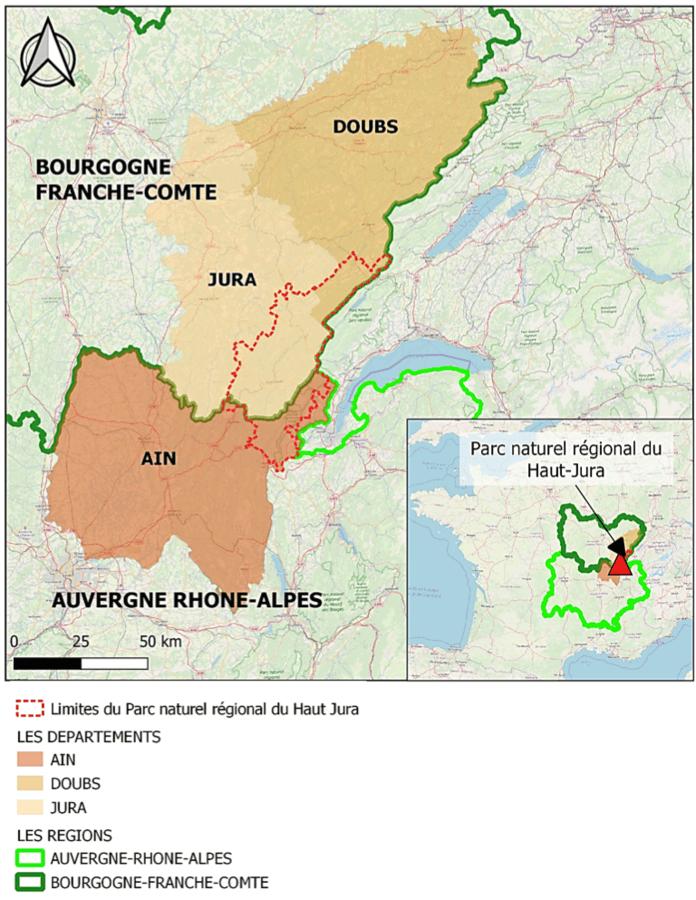 Situation géographique et délimitations officielles du Parc naturel régional du Haut-Jura (PNRHJ) : les régions et départements concernés