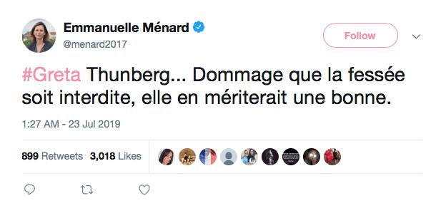Tweet de Emmanuelle Ménard, effacé depuis