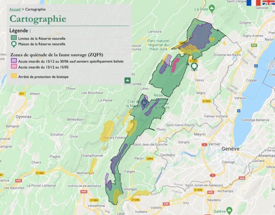 Zones protégées sur la Réserve naturelle nationale de la Haute Chaîne du Jura. Le périmètre du Site Natura 2000 se superpose à celui de la RNN. Réserve Naturelle Nationale de la Haute-Chaine du Jura.